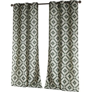 Darmstadt Geometric Semi-Sheer Grommet Curtain Panels (Set of 2)