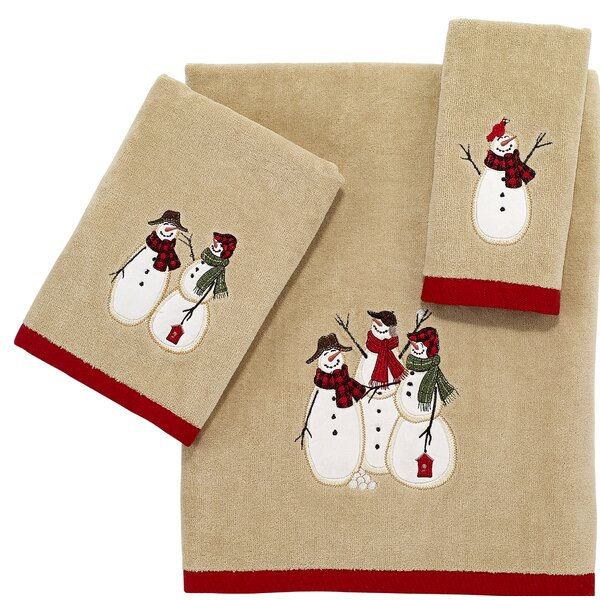Harvey Snowmen Gathering 3 Piece Cotton Bath Towel Set by The Holiday Aisle