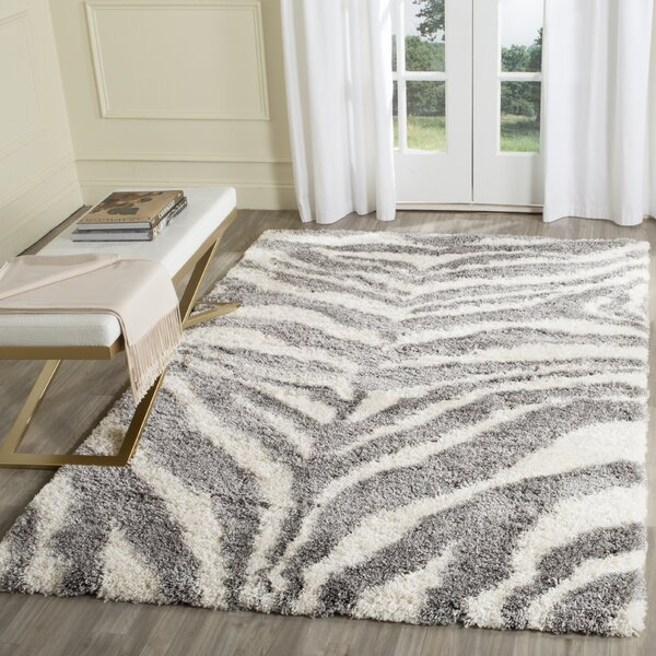 Laplaigne Shag Ivory/Gray Area Rug by House of Hampton