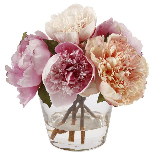 Peonies Floral Arrangement in Glass Vase by Jane Seymour Botanicals