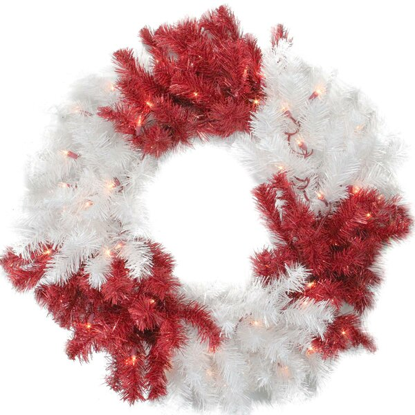 Peppermint Twist Christmas Tinsel Wreath with Lights by Tori Home
