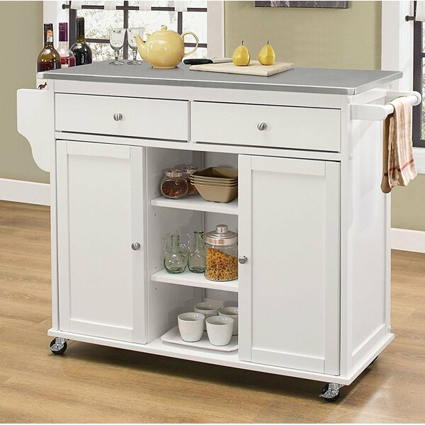 Kulik Stainless Steel Wheeled Kitchen Island by Alcott Hill