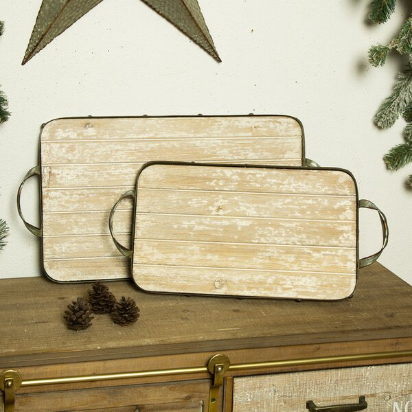 Abree Iron Wood 2 Piece Accent Tray Set by Union Rustic
