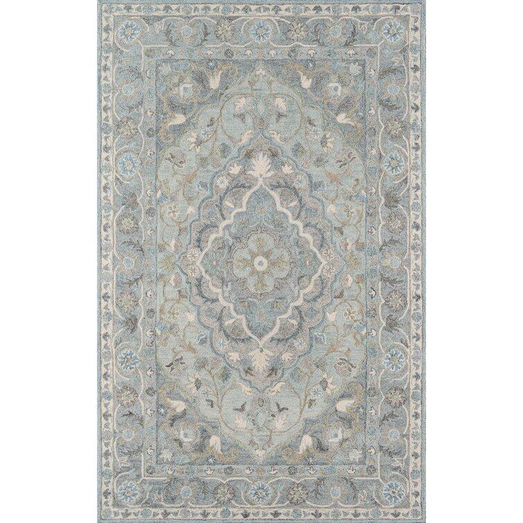 Sebrina Oriental Handmade Tufted Wool Blue Area Rug