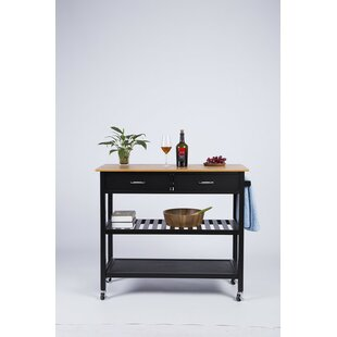 Langlois Kitchen Cart with Bamboo Top