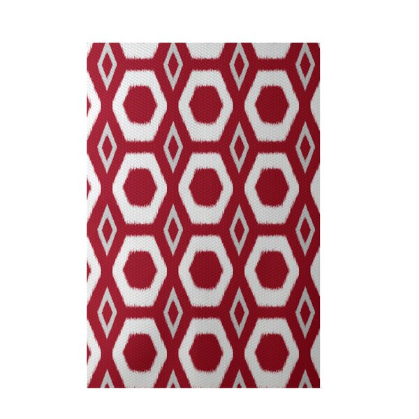 More Hugs and Kisses Geometric Print Red Indoor/Outdoor Area Rug by e by design