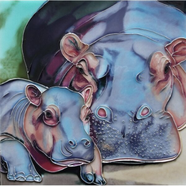 Mother and Baby Hippo Tile Wall Decor by Continental Art Center