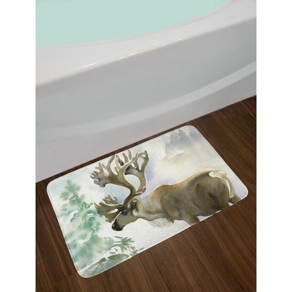 Antlers Moose in Winter Forest Wildlife Reindeer Christmas Theme Watercolor Painting Non-Slip Plush Bath Rug by East Urban Home