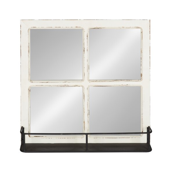 Hollenden Distressed Windowpane Accent Mirror by Gracie Oaks