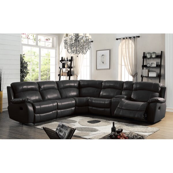 Heffron Leather Reclining Sectional by Orren Ellis
