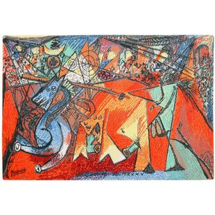 Pablo Picasso Vintage Red/Blue Area Rug by Nazmiyal Collection
