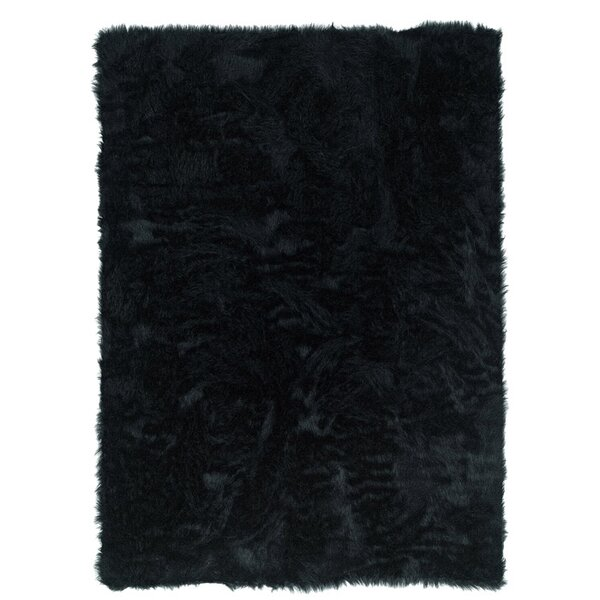Samantha Hand-Tufted Faux Sheepskin Black Area Rug by Threadbind