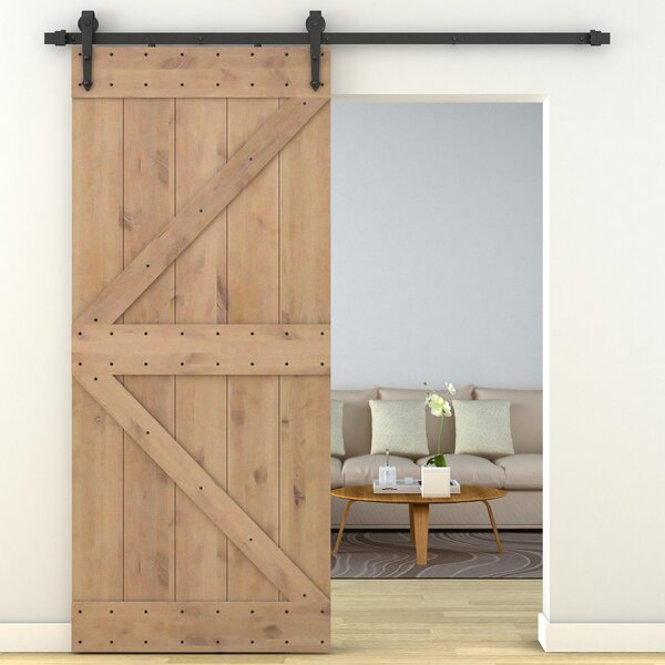 Primed Sliding Knotty Solid Wood Panelled Alder Interior Barn Door by Calhome