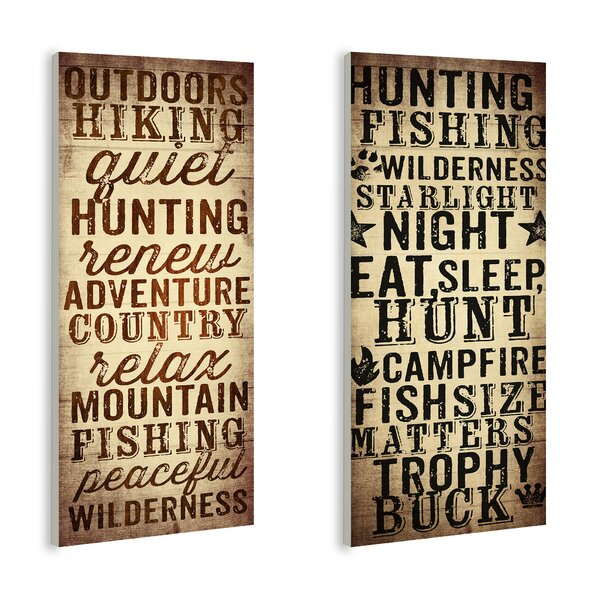 Outdoors and Hunting 2 Piece Textual Art Wall Plaque Set by Stupell Industries