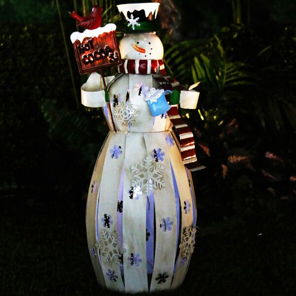 Metal Snowman Decor with LED Light by Alpine