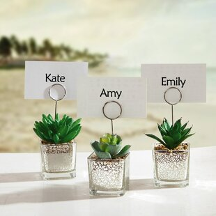succulents in pot table place card holder set of 6 - Table Place Cards