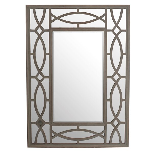 Rectangle Brown Wooden Wall Mirror by House of Hampton