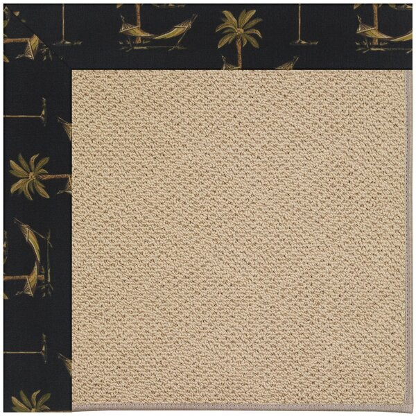 Lisle Machine Tufted Jet Black/Beige Indoor/Outdoor Area Rug by Longshore Tides
