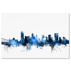 Memphis TN Skyline White Graphic Art on Wrapped Canvas by Latitude Run