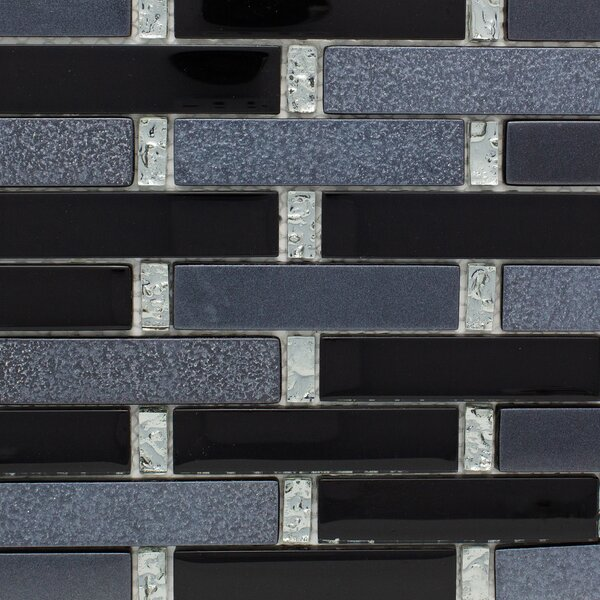 Paint Effect Brick Random Sized Glass Mosaic Tile in Gray/Black Metal by Multile