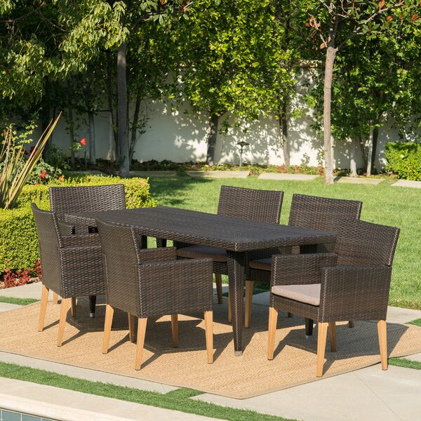 Jaliyah Outdoor 7 Piece Dining Set with Cushions by Corrigan Studio