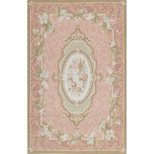 One-of-a-Kind Floral Hand-Knotted 7'9 X 12' Ivory/Rose Area Rug