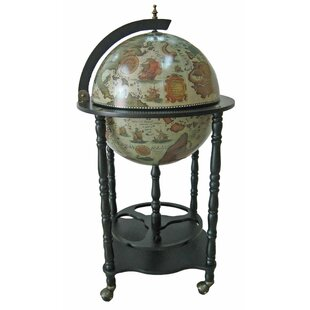 Firenze Italian Style Floor Globe Bar with Twisted Floor Stand by Merske LLC