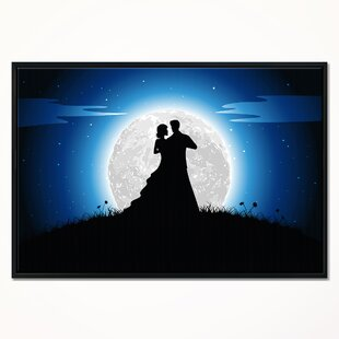 Romantic Couple Embrace In Night Framed Graphic Art Print On Wrapped Canvas