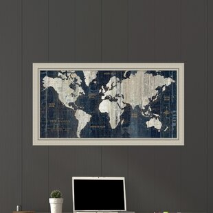 old world map framed graphic art