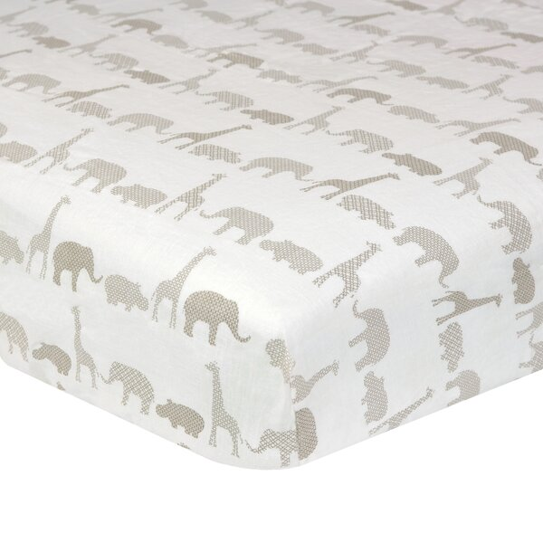 Fairbury Antique Safari Fitted Crib Sheet by Greyl