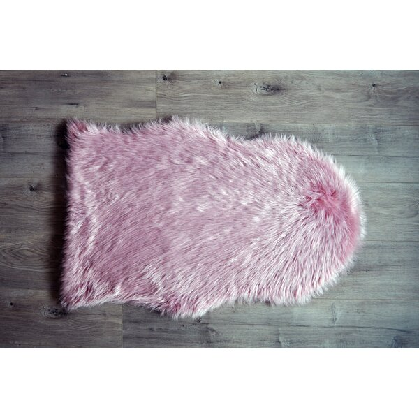 Faux Sheepskin Pink Area Rug by Kroma Carpets