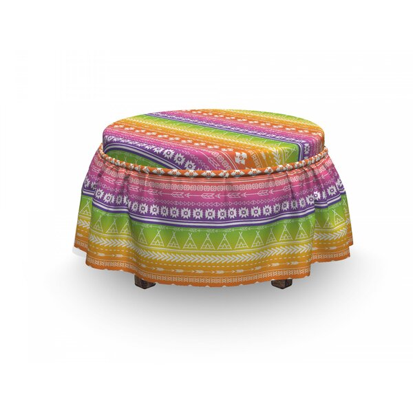 Tents With Angled Lines Ottoman Slipcover (Set Of 2) By East Urban Home