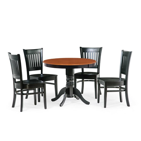 Reichert 5 Piece Solid Wood Dining Set by Charlton Home