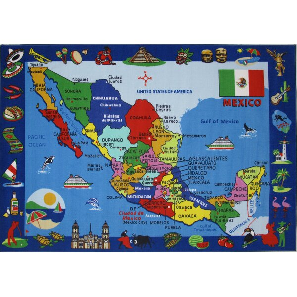 Fun Time Map of Mexico Kids Rug by Fun Rugs