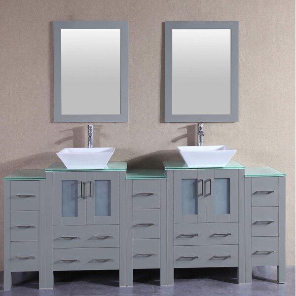 Fran 84 Double Bathroom Vanity Set with Mirror by Bosconi