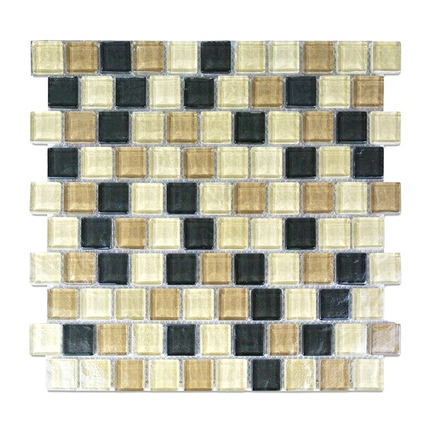 Geo 1 x 1 Glass Mosaic Tile in Brown Amazonia by Abolos