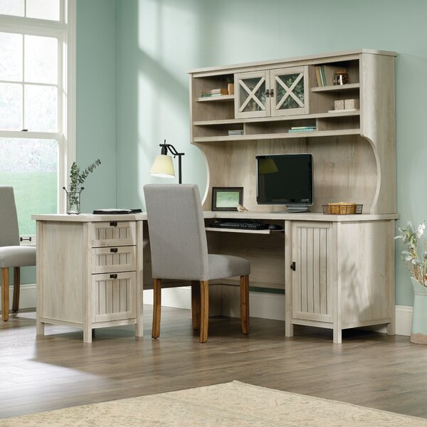 L-Shape Computer Desk with Hutch by Laurel Foundry Modern Farmhouse