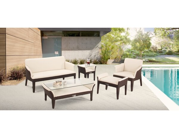 Segal 5 Piece Rattan Sofa Seating Group with Cushions by Brayden Studio