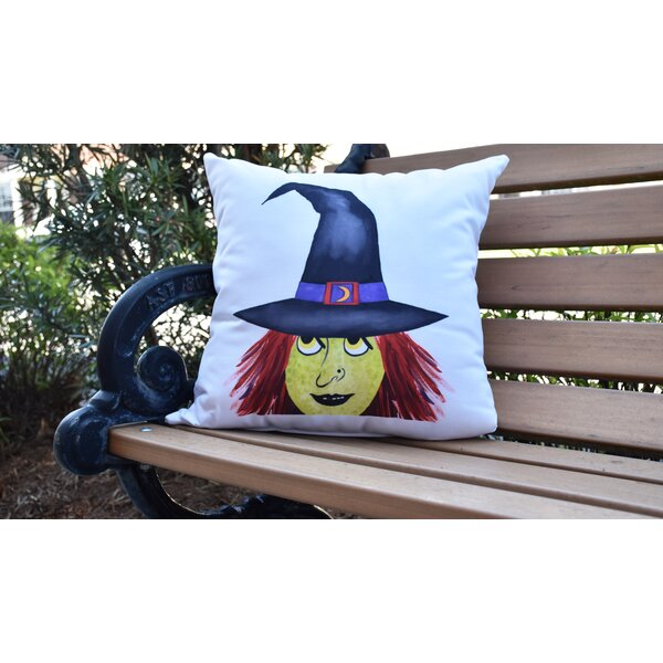 Maser Peek A Boo Witch Halloween Outdoor Throw Pillow by The Holiday Aisle