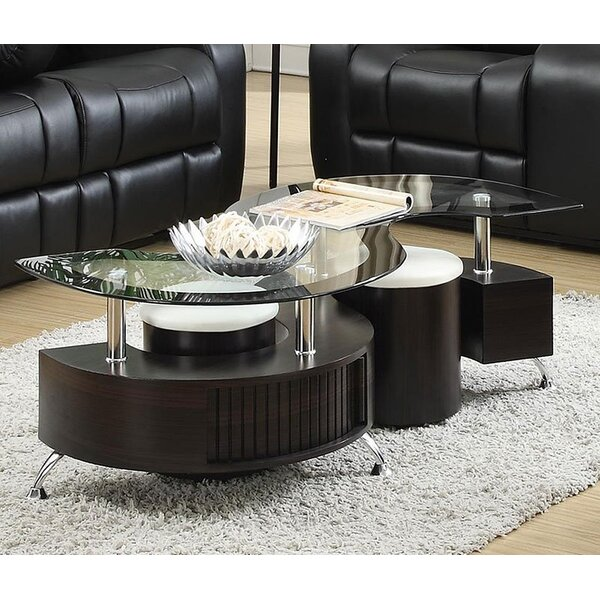 Gunnora Coffee Table with Nested Stools by Orren Ellis Orren Ellis