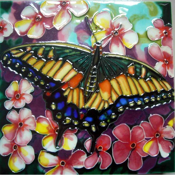 Yellow Butterfly with Pink Flower Tile Wall Decor by Continental Art Center