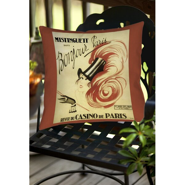 Bonjour Paris Indoor/Outdoor Throw Pillow by Manual Woodworkers & Weavers