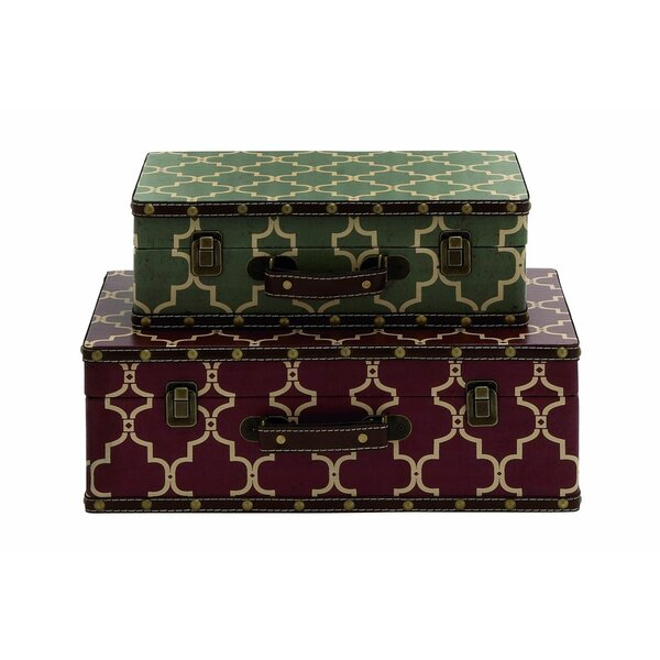 Wood Vinyl Suitcase 2 Piece Decorative Box Set by Cole & Grey