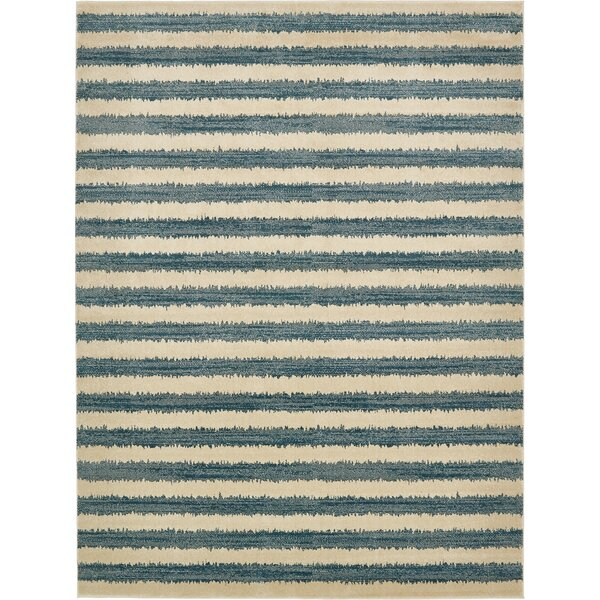 Travis Blue/Beige Striped Area Rug by Viv + Rae