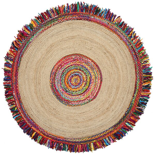 Sandford Round Racetrack Hand-Loomed Yellow/Red Area Rug by Bungalow Rose