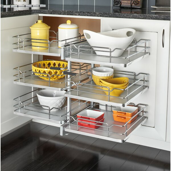 Three-Tier Solid Bottom Pull Slide Pull Cabinet Organizer for 15 Opening by Rev-A-Shelf