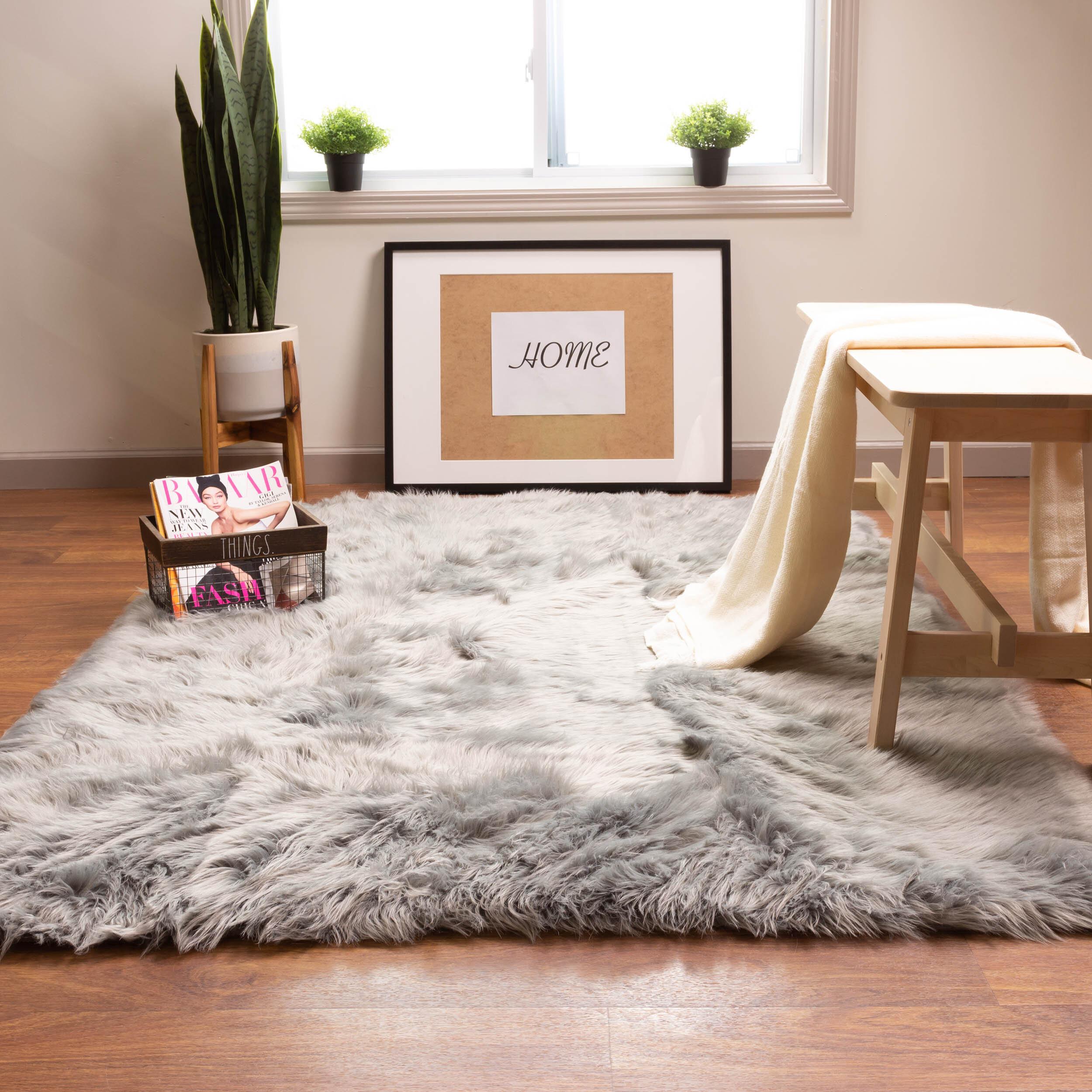Living Room Rug Deep-Pile Brown Soft Shaggy Durable Shag-Pile Robust