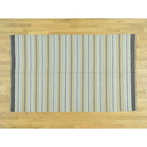 One-of-a-Kind Beeney Striped Handmade Kilim Wool Area Rug by Isabelline