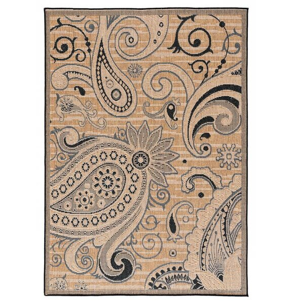 Hinnant Reversible Light Brown/Black Indoor/Outdoor Area Rug by Winston Porter