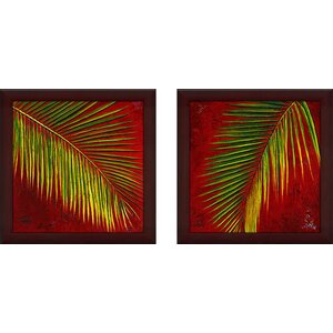 'Leaves' 2 Piece Framed Acrylic Painting Print Set Under Glass by World Menagerie